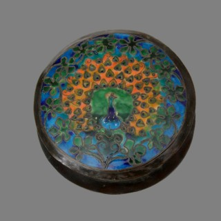 A large Boston School arts and crafts peacock enamel copper box