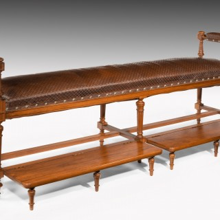 Over 7ft Long French 19th C Walnut & Embossed Leather Billiard Room Bench (Banquette De Billiard)