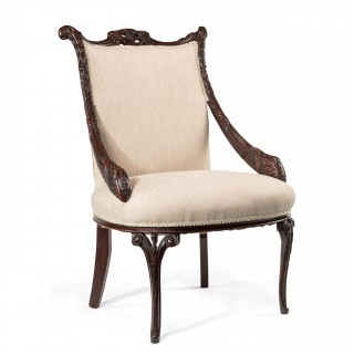 Rare Late 18th Century Mahogany Open Armchair