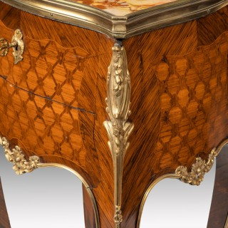 Stamped Gillows A Pair of French Ormolu Mounted Rosewood and Kingwood Parquetry Bedside Tables.
