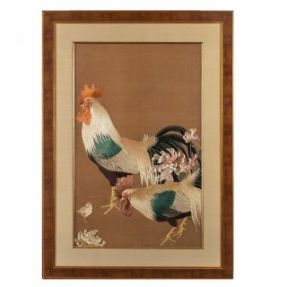 A Meiji period needlework of two Cockerels