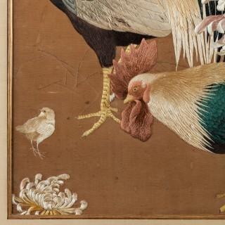 A Meiji period needlework of two Cockerels