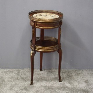 French Brass and Mahogany Two Tier Occasional Table