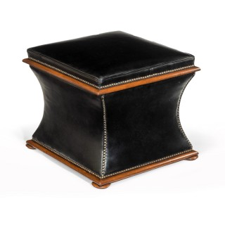 Mid-19th Century Walnut Sarcophagus Leather Box Ottoman
