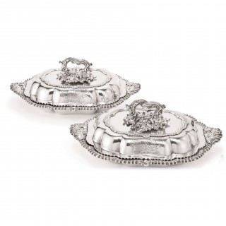 Antique Pair Sterling Silver Entree Dishes and Covers, Paul Storr, London 1838