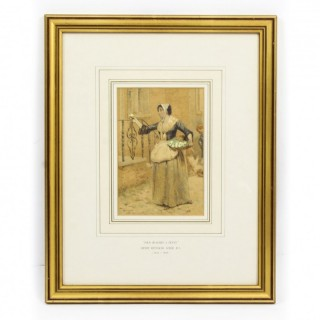 Antique Watercolour 19th C by Henry Reynolds Steer Dated 1880
