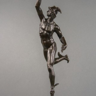 A fine Italian bronze of naked Mercury in flight