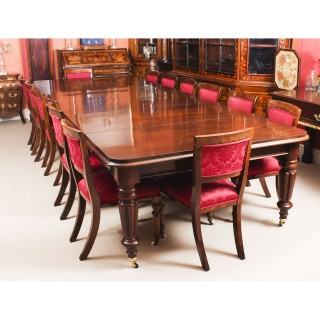 Antique William IV Dining Table 14 Upholstered Back Dining Chairs 19th C