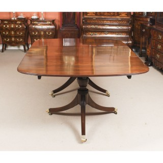Antique George III Regency Flame Mahogany Twin Pillar Dining Table 19th C