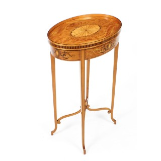 Antique Marquetry & Shell Inlaid Satinwood Oval Occasional Table 19th C