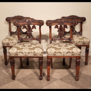 Set of Four Regency Period Carved Chairs