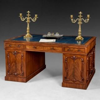 Highly figured Mahogany Partners' Pedestal Desk