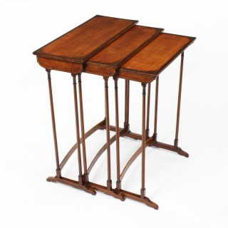 Antique Victorian Satinwood & Inlaid Nest of 3 Tables 19th Century