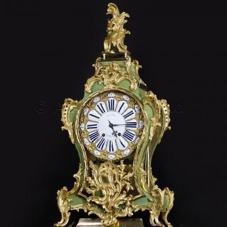 A Fine Louis XV Gilt-Bronze Mounted Corne Verte Bracket Clock