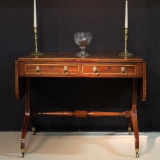 Regency Period Mahogany Sofa Table with Satinwood Crossbanding