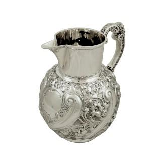 Antique Victorian Sterling Silver 2 1/2 Pint Beer / Water Jug 1893