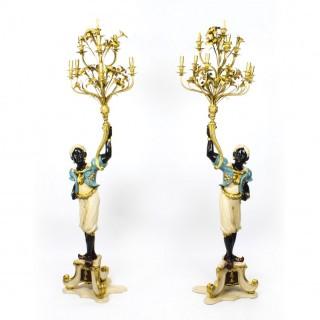 Antique Pair Venetian Blackamoor 10 Branch Candelabra C1920