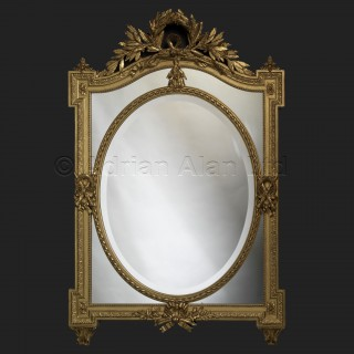 A Fine Louis XVI Style Carved Giltwood Marginal Frame Mirror With Bevelled Plates