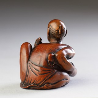 Japanese Finely Carved Boxwood Okimono of a Thwarted Rat Catcher