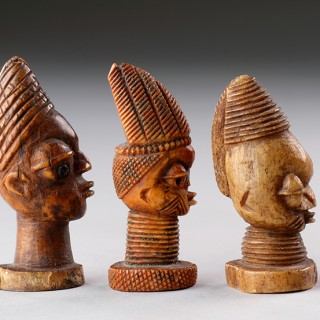 Collection of Seven West African Yoruba Carved Ivory 'Olori Ikin'