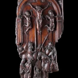 Renaissance South Netherlands Carved Walnut Crucifixion Scene