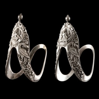 Pair of South Indian Tamil Nadu Silver 'Vanki' Upper Arm Ornaments