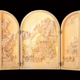 French Dieppe Carved Ivory Triptych