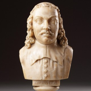 French Carved Alabaster Portrait Bust of the Dramatist Pierre Corneille