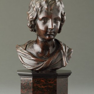 Flemish Bronze Bust of Christ as a Child Attributed to François Du Quesnoy (1597-1643)