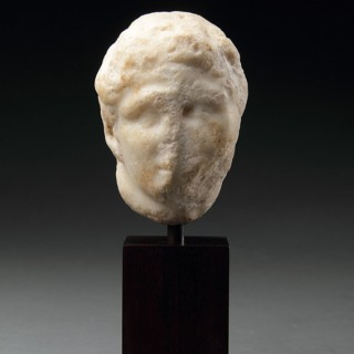 Ancient Greek Marble Fragment of the Head of a Youth