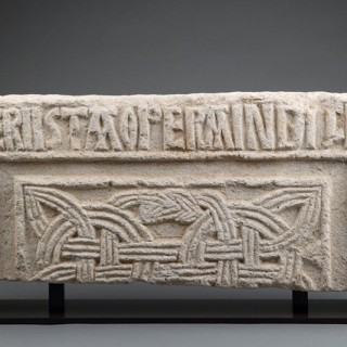 Rare Early Christian Carolingian Frankish Fragment of a Dedicatory Limestone Relief Plaque