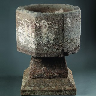 Early Anglo-Norman Octagonal Limestone Baptismal Font