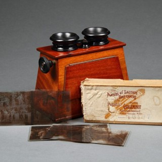 French Stereoscopic Viewer with a Collection of Twenty Three Original Glass Slides