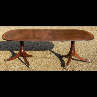 Regency Period Mahogany Twin Pillar Dining Table