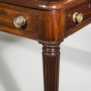 Regency Black Leather Top Mahogany Library Table or Desk
