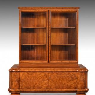 Fine Quality Walnut Art Deco Bookcase