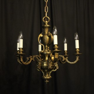 French Bronze 6 Light Antique Chandelier