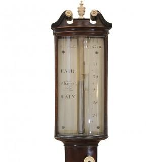 Bowfront Stick Barometer, London maker