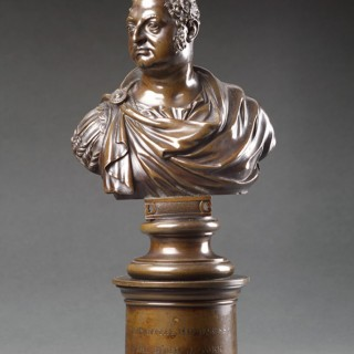 Pair of English Regency Cast Bronze Royal Portrait Busts of George IV and the Duke of York