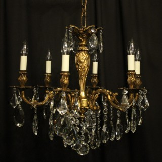 Italian Gillded Bronze 6 Light Antique Chandelier