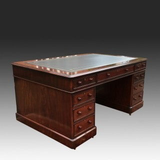 Large Antique Victorian Mahogany Partners Desk