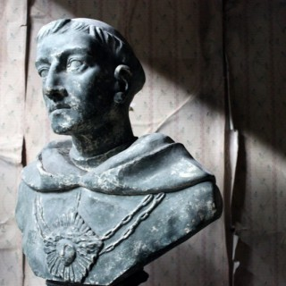 A Large 19thC Painted Plaster Portrait Library Bust of St. Francis of Assisi; Ex Milford House
