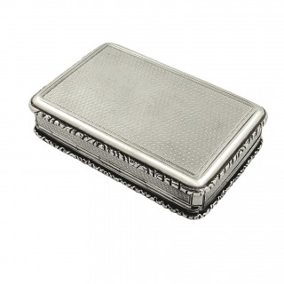Antique Early Victorian Sterling Silver Snuff Box 1844
