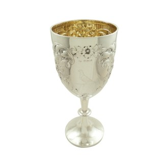 Huge Antique Edwardian Sterling Silver Wine Goblet 1906 - Bird