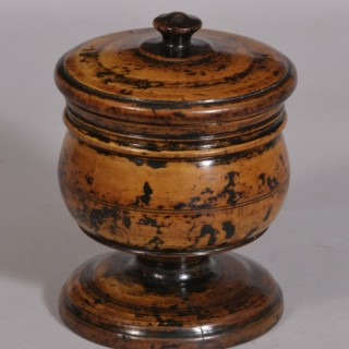 Antique Treen 17th Century Charles II Fruitwood Lidded Spice Pot