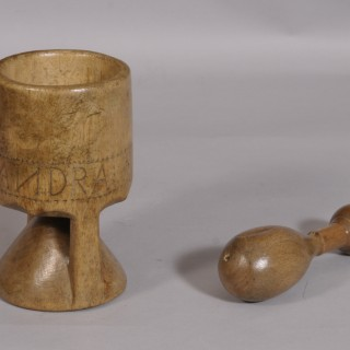 Antique Treen Birch Pestle and Mortar