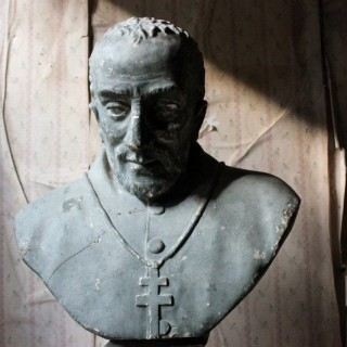 A Large 19thC Painted Plaster Portrait Library Bust of a Priest; Ex Milford House
