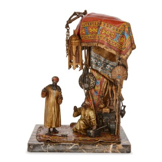 Viennese Orientalist cold-painted bronze lamp by Chotka