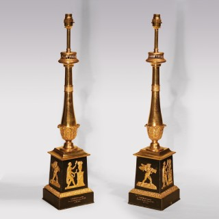Early 19th Century Bronze and Ormolu Carcel Oil Lamps