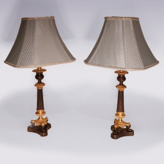 Pair Of  19th Century Triform Candlestick Lamps